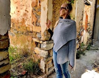 gray wrap, 100% italian wool wrap, handknit