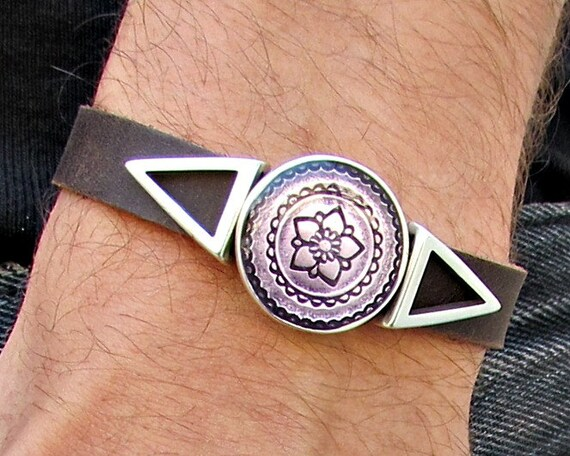 Purple Geometric Mens Leather Bracelet Cuff Triangle Bracelet Bracelet Customized On Your Wrist G3