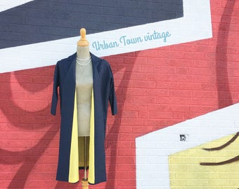 Vintage Navy Blue And Yellow Over Coat Trench Jacket (Size Small/Medium)