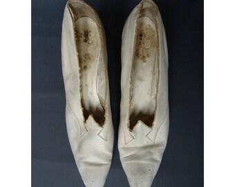 Vintage Art Deco 1920s/20s Leather Wedding SHOES Flapper Edwardian