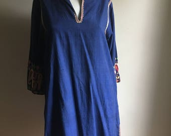 60s Handmade Rare Indian Blue Cotton Tunic • Free Size Blue Tunic • Bohemian Top