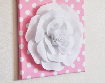 """Nursery Wall Decor -White Rose on Pink with White Polka Dot 12 x12"""" Canvas Wall Art- Flower Wall Art"""