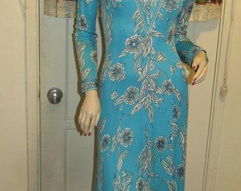 1950's Ladies EMILIO PUCCI/Saks Fifth Avenue Teal Blue V-Neck Floral Long Sleeve Dress
