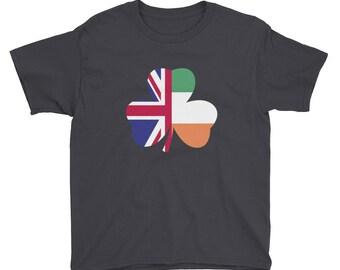 St Patricks Day Irish Flag British Flag Youth Short Sleeve T-Shirt