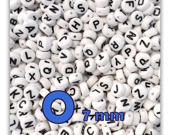 "Set of 50 ""O"" beads letter alphabet disc 7 X 3.5 mm"