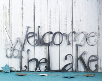 Welcome To The Lake Metal Sign | Lake House Decor | Metal Wall Art | Outdoor Sign | Sign | Lake Wall Decor | Cabin Decor | Welcome Sign