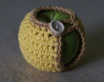 Handmade Crocheted Apple Cozy in Yellow and Mocha