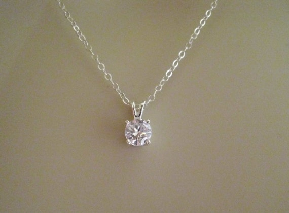 Sterling silver cubic zirconia pendant necklace faceted cubic aloadofball Image collections