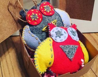 Felt owl ornaments wool felt owl christmas ornaments