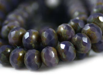 Czech Glass Faceted Rondelle Opaque Amethyst Purple Gray Picasso Finish 7x5mm