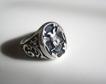 925 Sterling Silver Double Headed Eagle Ring For Men