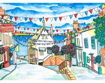 Lyme Regis Print: Broad Street, Lyme Regis, Dorset, UK