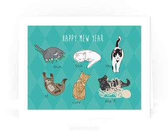 Cat Holiday Card - Happy Mew Year - Funny Cat Holiday Christmas Happy New Years Cards