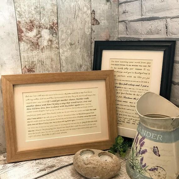Song lyrics print Song lyrics wall art Vows Husband gift Wife