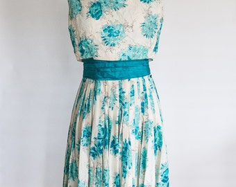 Gorgeous Couture Larry Aldrich 1950s Silk Party Dress, Small Size 4 Size 6