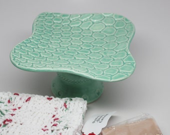 Handmade Pedestal Soap Dish with a Crocheted Wash Cloth and Handmade Soap Gift Set