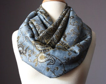 Washed Denim Blue infinity scarf with Paisley design, fall/winter neckwear accessories, patterned scarves, steel blue loop scarf