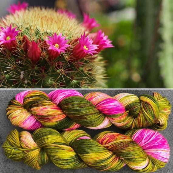 Flowering Cactus Sport, indie dyed merino nylon baby sock yarn