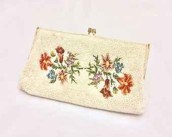 Vintage White Beaded Embroidered Flower Bridal Clutch Purse - Free Ship