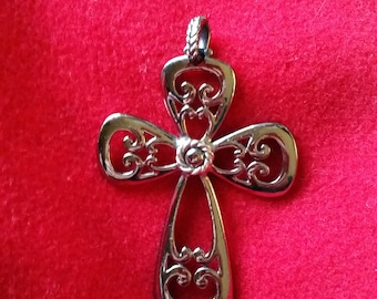Coventry signed, large ornate silver tone cross pendant