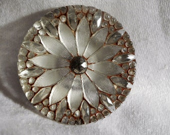 ANTIQUE Red Tint Lacy Glass Flower Button