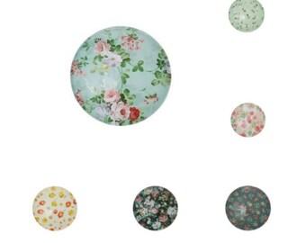 Round flower glass cabochon