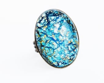 Aquamarine Opal Ring Vintage Glass Blue Fire Opal Large Vintage Iridescent Turquoise Glass Ring