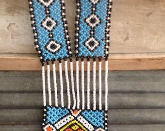 vtg handmade boho ethnic beaded necklace
