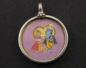 Radha pendant etsy sterling silver radha krishna pendant with soldered jump ring religiousspiritualyoga aloadofball Images