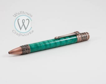 Spiritual Ballpoint with Teal Curly Maple