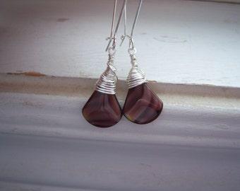 Purple Earrings - Briolette Earring -