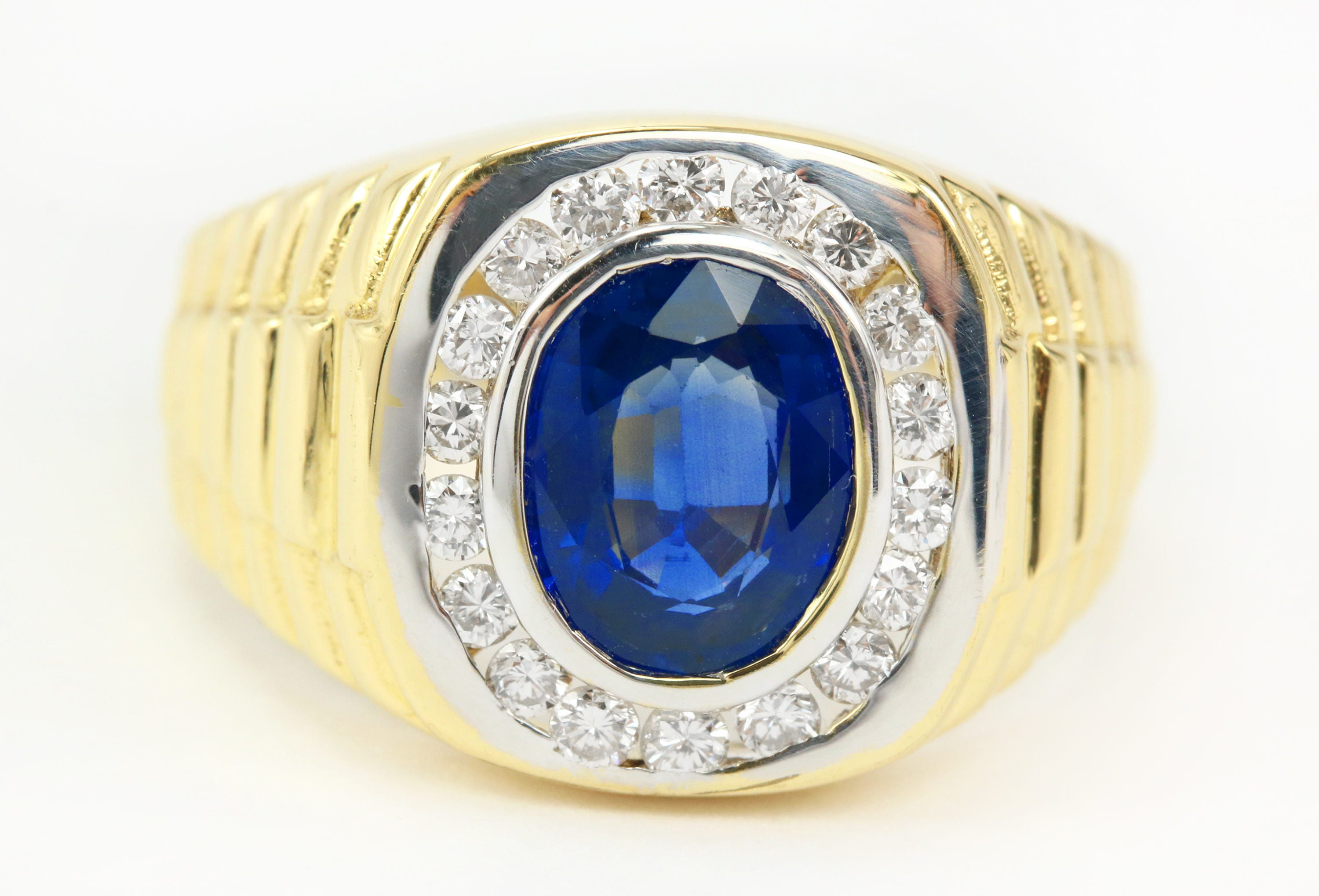 ring gold sapphire with yellow in diamonds mens tw