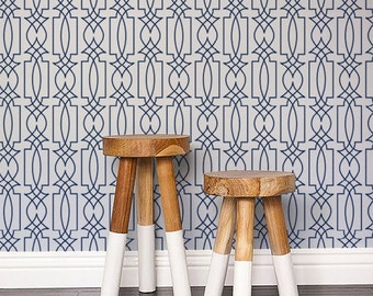 Self adhesive vinyl temporary removable wallpaper, wall decal - Trellis wallpaper pattern print - 104 SNOW / CATALINA