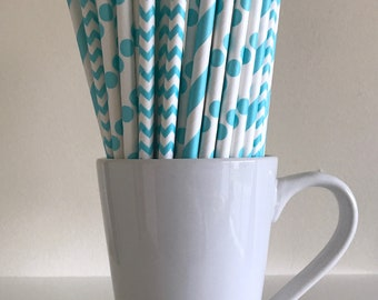 Robins Egg Blue Striped, Chevron, Polka Dot Paper Straws Aqua Turquoise Blue Party Supplies Party Decor Bar Cart Cake Pop Sticks Graduation