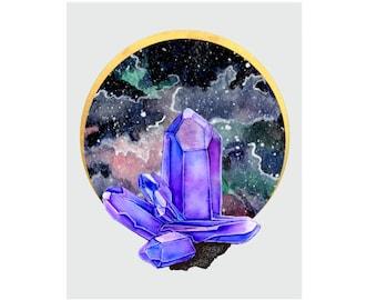 Amethyst Moon Watercolor Print - Hand Embellished , Crystal art, Galaxy, metallic gold, purple crystals,  Ametrine, Alexandrite, Tanzanite