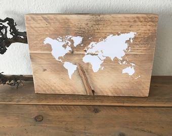 World map on Old scaffold Wood