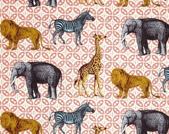 Animal Bazaar Cotton Fabric Michael Miller Seedlings 2 Coral  By the Yard
