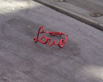 Red wire LOVE Ring