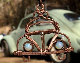 VW Bug Beetle Copper Wire Wrap Pendant by VW Gypsy Pendant