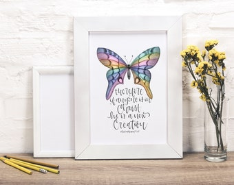 BUTTERFLY Wall Art // Bible Verse Wall Art // Scripture Wall Art // Scripture Prints / Butterfly Print / Chalk Pastel / DOWNLOADABLE PRINTS