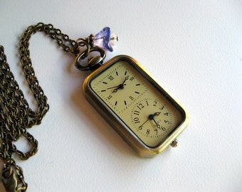 Double Watch Necklace, Antique Bronze Floral Watch Pendant, Swarovski Charm, Ultraviolet Czech Glass Flower