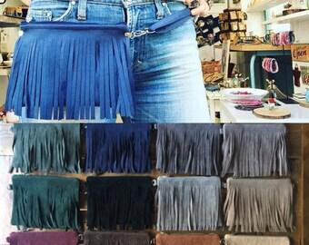 Fanny pack, Fringe hip bag, fringe fanny pack, beltpack, Cowgirl, leather little Clutch with adjustable strap hip pack - Christmas gift