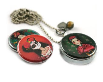 FRIDA Locket Necklace - 3 in 1 - Personalized / Recycled - Interchangeable Magnetic Lids - TheNebulousKingdom X Polarity