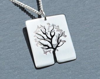 Silver Tree Pendant, Silver Jewelry, Silver Jewellery, Silver Pendant, Leafy Tree Night Time Necklace