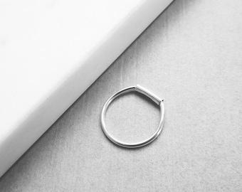 Minimal Sterling Silver Mini Tube Bar Ring