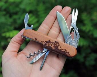 Laser etched pocket knife | 7-Tool MOUNTAINEER pocket knife