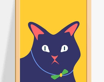 Printable Nursery wall decor for Kids / Cat Prints / A fun and colourful Wall Art for Children