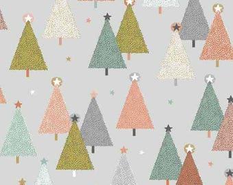 Modern Metallic Christmas - Trees Silver Gray from Andover-Makower