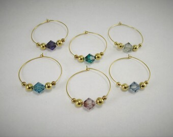 6 wine charms | gift box | Swarovski ® Crystal Elements - gold wine glass charms - unique wine gift - wine lover gift - wine markers GSC6-1