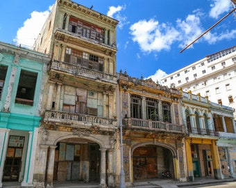 "Cuba Photography, ""Colorful Streets of Havana"", Travel Photography, Architectural Photography, Old Buildings in Cuba, Customizable"